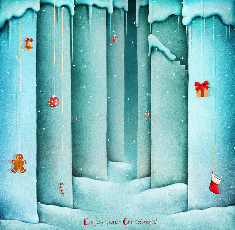 Vägg för vinterbakgrundssnö royaltyfri illustrationer
