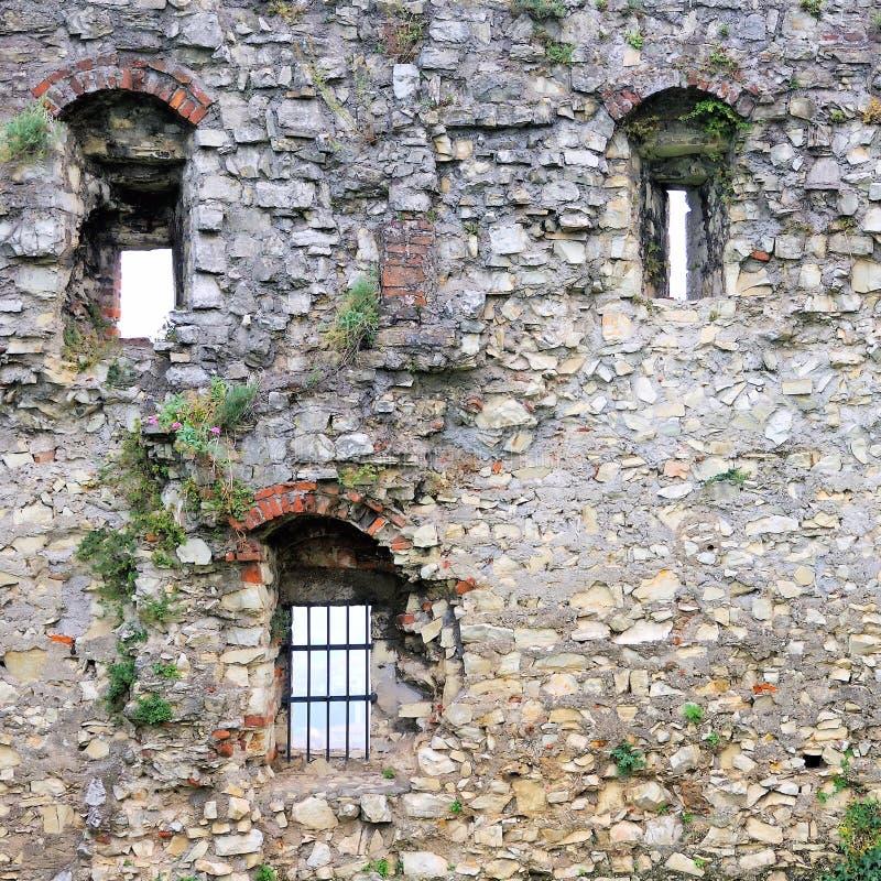 Vägg i medeltida byggnad arkivbilder