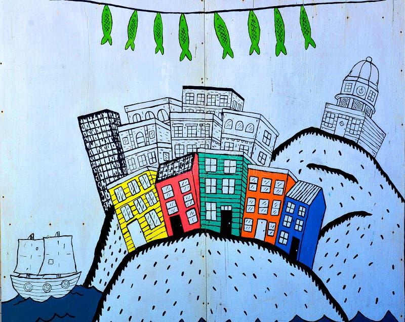 Vägg- i stadens centrum Halifax arkivfoton
