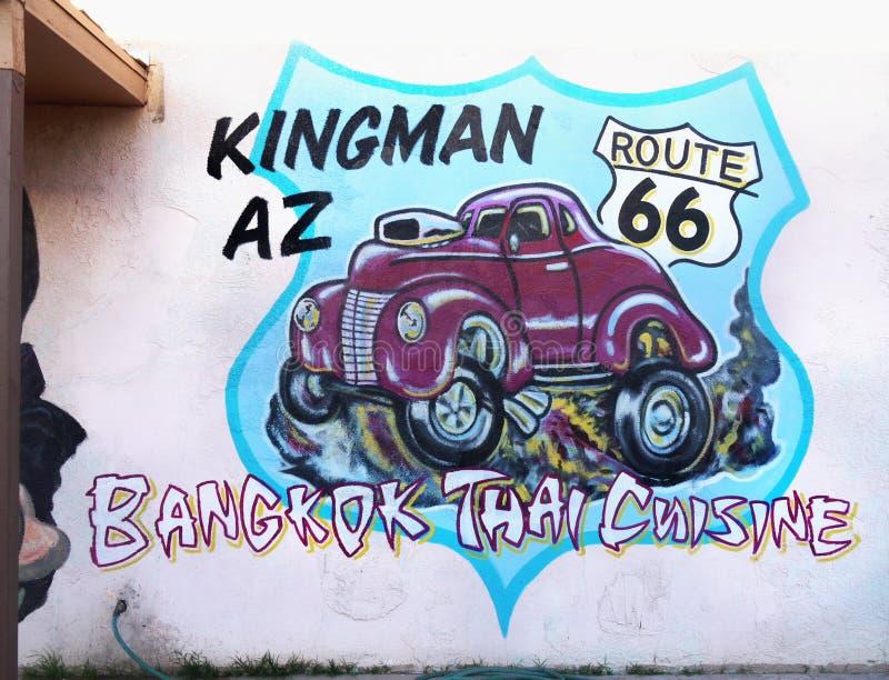 Vägg- konst för gata, grafitti, bil Route 66, Kingman, Arizona fotografering för bildbyråer