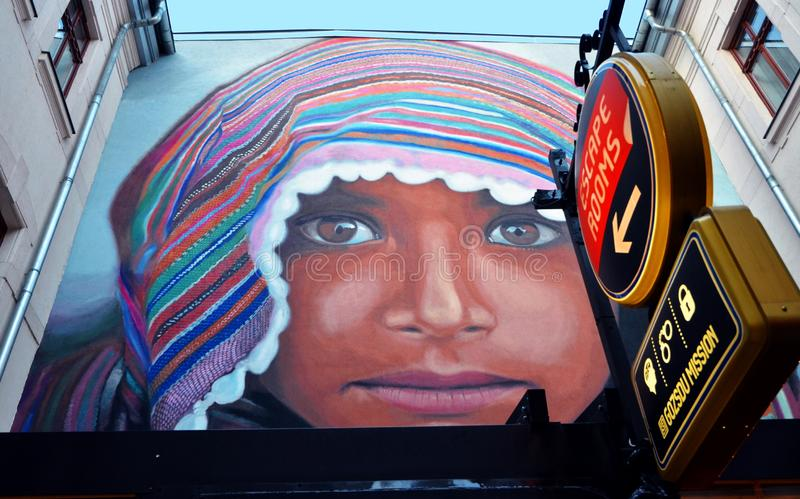 Vägg- konst i Budapest, Ungern royaltyfri bild
