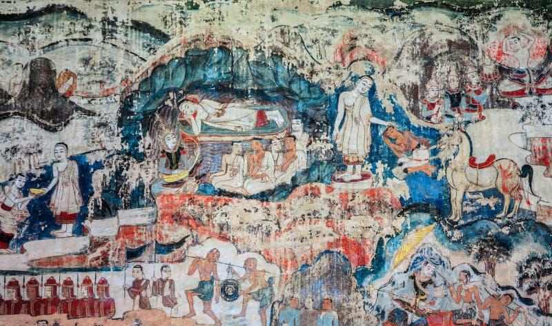 Vägg- målning för forntida thailändsk Lanna stil av livet av Buddha royaltyfri foto