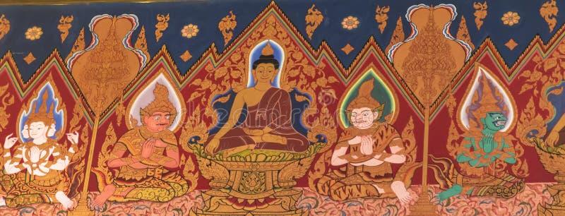 Vägg- målning för thailändsk stil i Wat Hualamphong Thailand royaltyfria foton