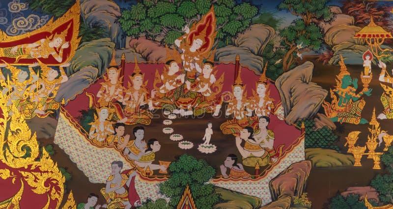 Vägg- målning för thailändsk stil i Wat Hualamphong Thailand arkivbild