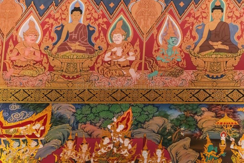 Vägg- målning för thailändsk stil i Wat Hualamphong Thailand royaltyfria bilder