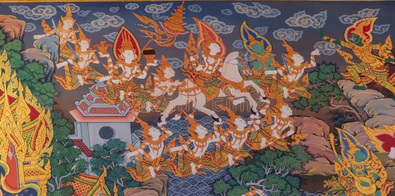 Vägg- målning för thailändsk stil: siddharthagautamaflykt från slott royaltyfria foton