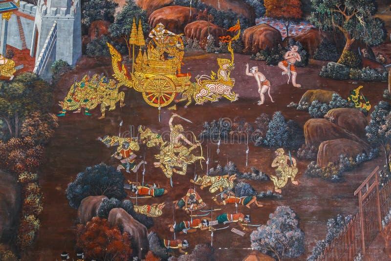 Vägg- målningar på Wat Phra Kaew, Bangkok arkivfoto