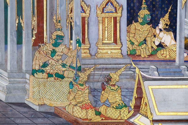 Vägg- målningar på Wat Phra Kaew, Bangkok royaltyfri bild