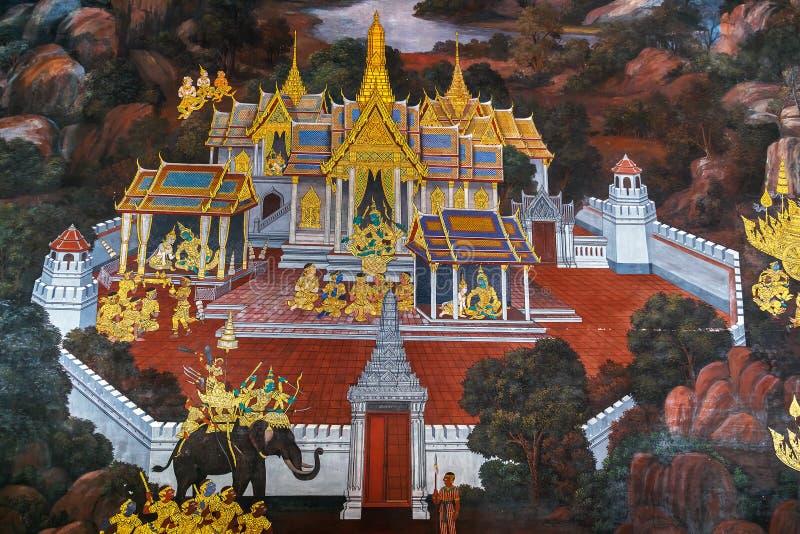 Vägg- målningar på Wat Phra Kaew, Bangkok arkivfoton