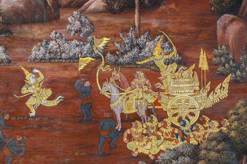 Vägg- målningar på Wat Phra Kaew, Bangkok royaltyfria bilder