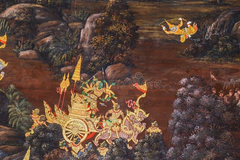 Vägg- målningar på Wat Phra Kaew, Bangkok arkivbild