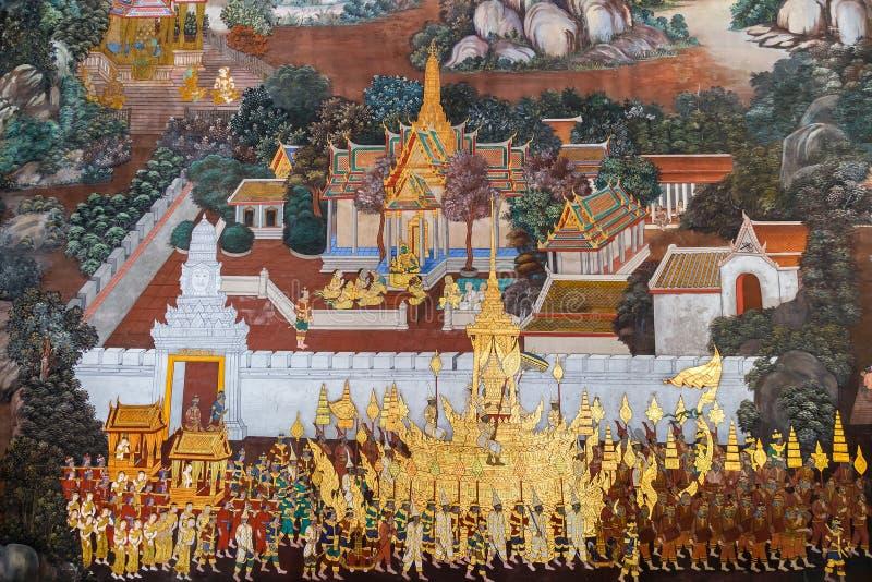 Vägg- målningar på Wat Phra Kaew, Bangkok arkivbilder