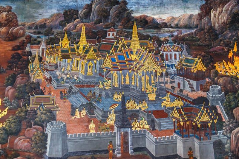 Vägg- målningar på Wat Phra Kaew, Bangkok fotografering för bildbyråer