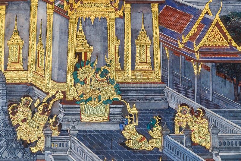 Vägg- målningar på Wat Phra Kaew, Bangkok royaltyfri foto