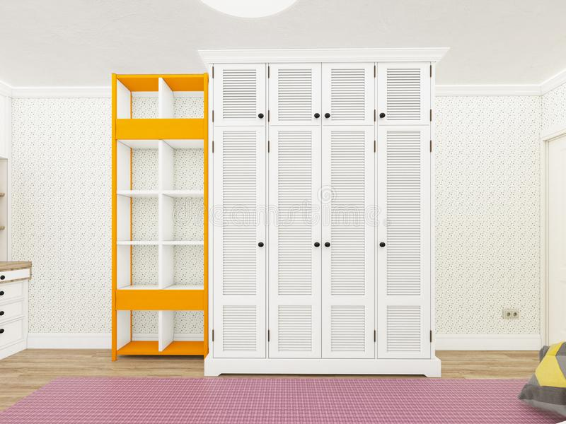 Vägg med bokhyllan och garderoben framförande 3d arkivbild