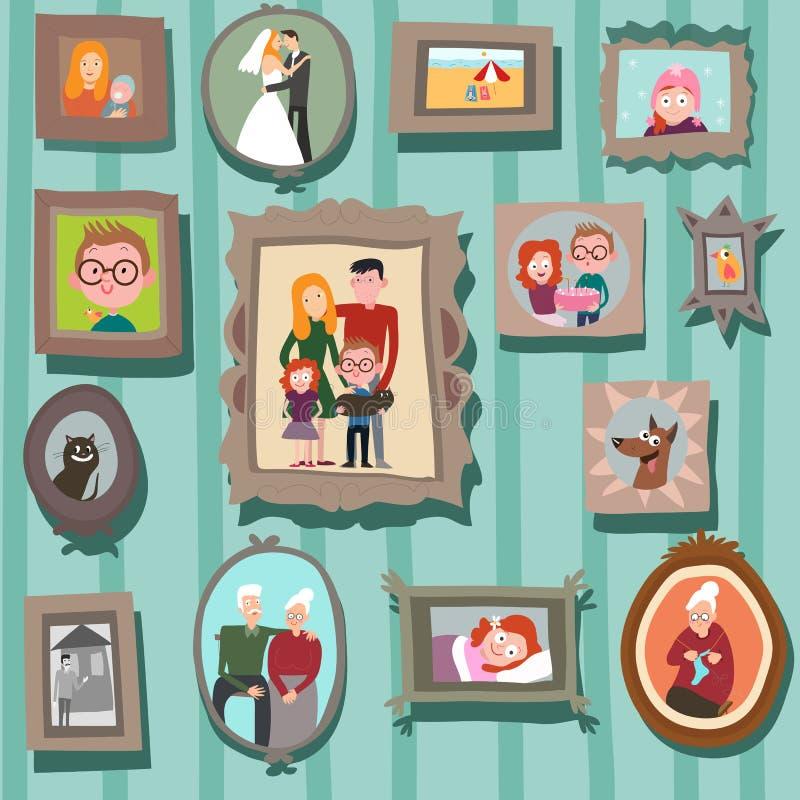 Vägg med familjstående royaltyfri illustrationer