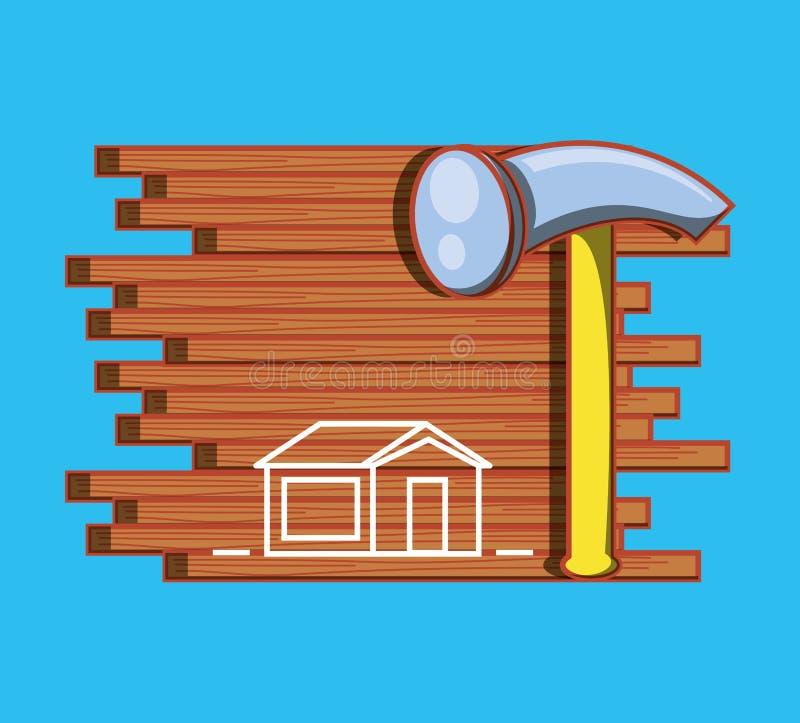 Vägg med hem- reparationssymboler stock illustrationer