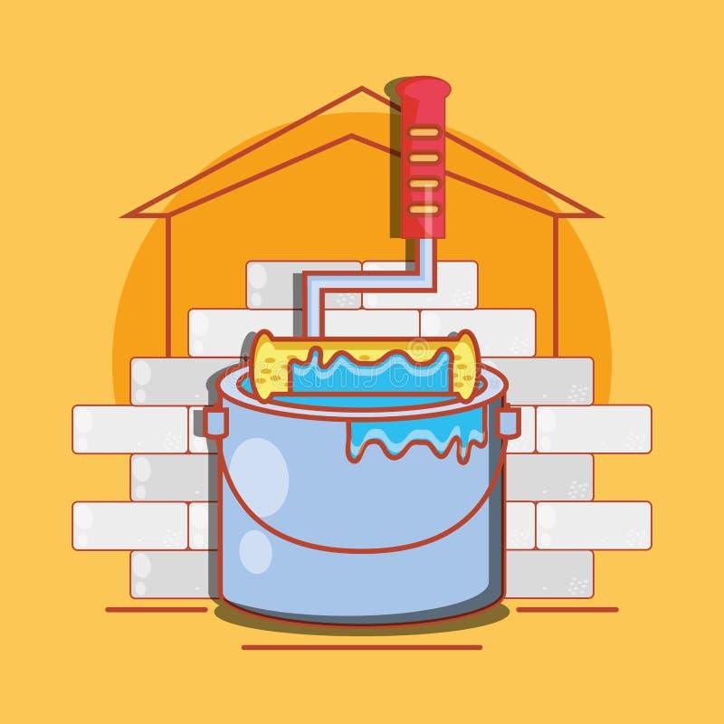 Vägg med hem- reparationssymboler vektor illustrationer