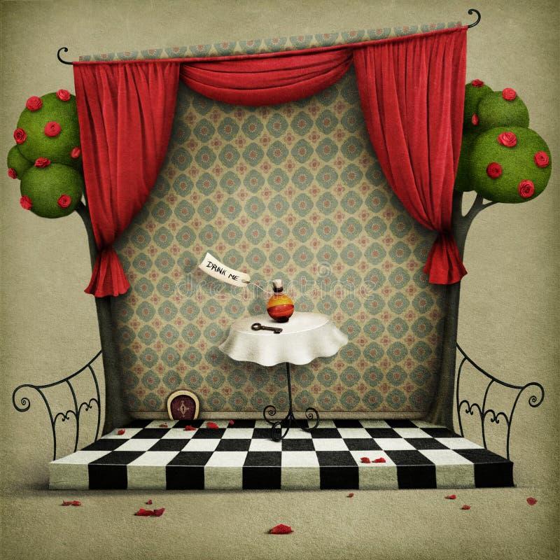 Vägg med röda gardiner och den små dörren royaltyfri illustrationer