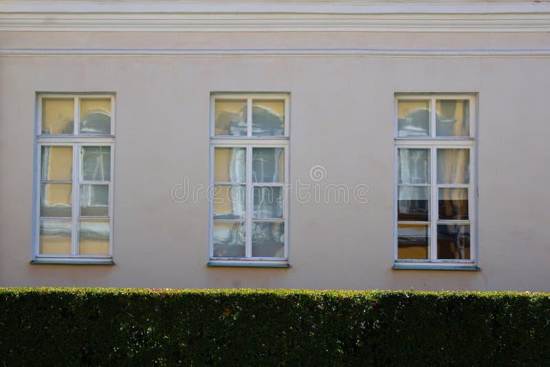 Vägg med tre fönster på bakgrunden av gröna buskar royaltyfria foton