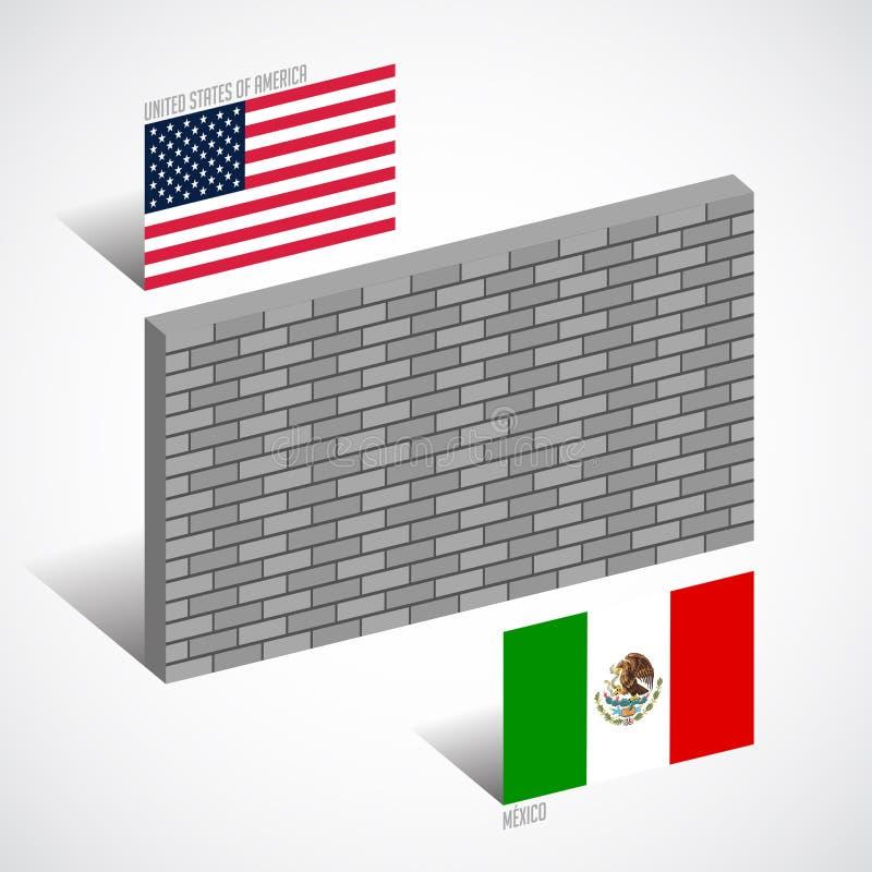 Vägg mellan Förenta staterna och Mexico, gränsväggbegrepp stock illustrationer