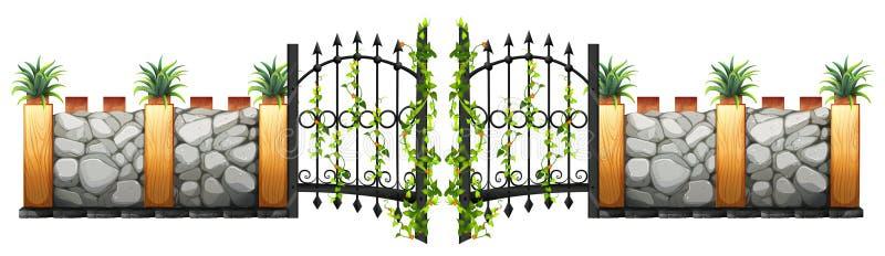 Vägg- och portdesign royaltyfri illustrationer