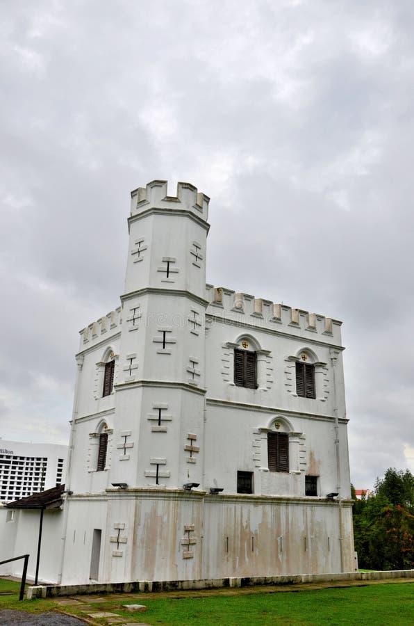 Vägg och torn Kuching Sarawak Malaysia för byggnad för arv för fortMargherita Brooke Gallery museum arkivbild