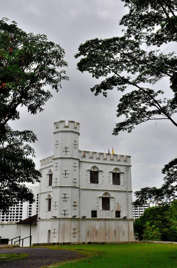 Vägg och torn Kuching Sarawak Malaysia för byggnad för arv för fortMargherita Brooke Gallery museum arkivbilder