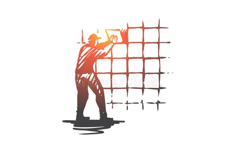 Vägg som belägger med tegel, hus, reparation, arbetarbegrepp Hand dragen isolerad vektor stock illustrationer