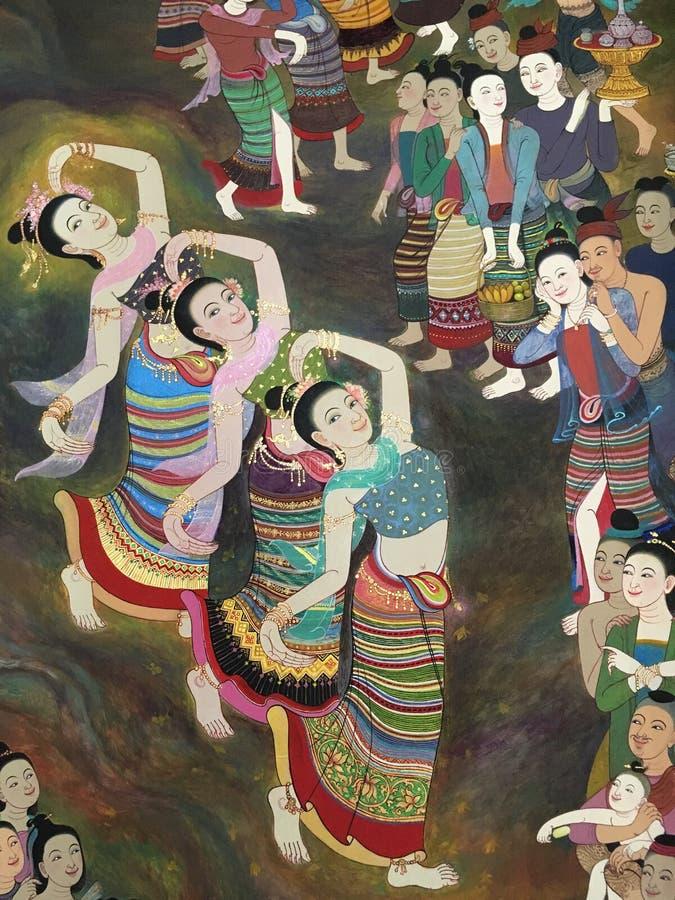 Vägg- väggmålning för thailändsk dam på den Phumin templet, Nan, Thailand royaltyfri fotografi