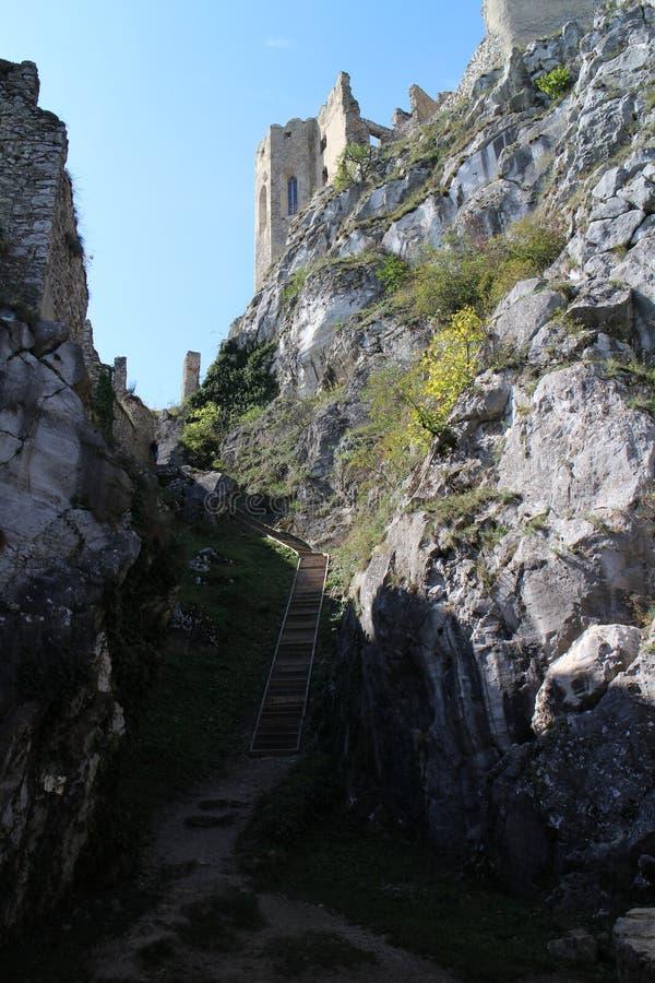 Väggar av den Beckov slotten royaltyfri bild