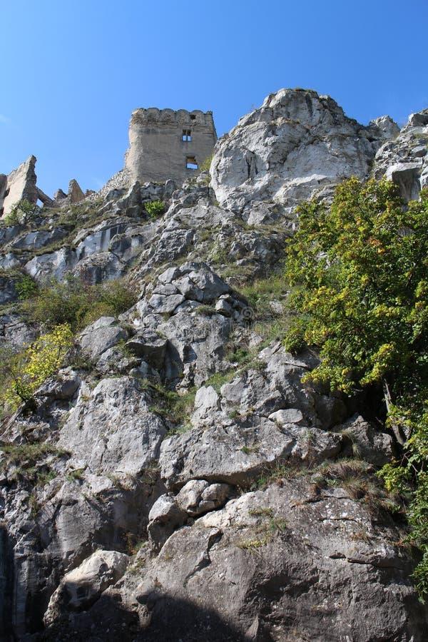 Väggar av den Beckov slotten arkivfoto