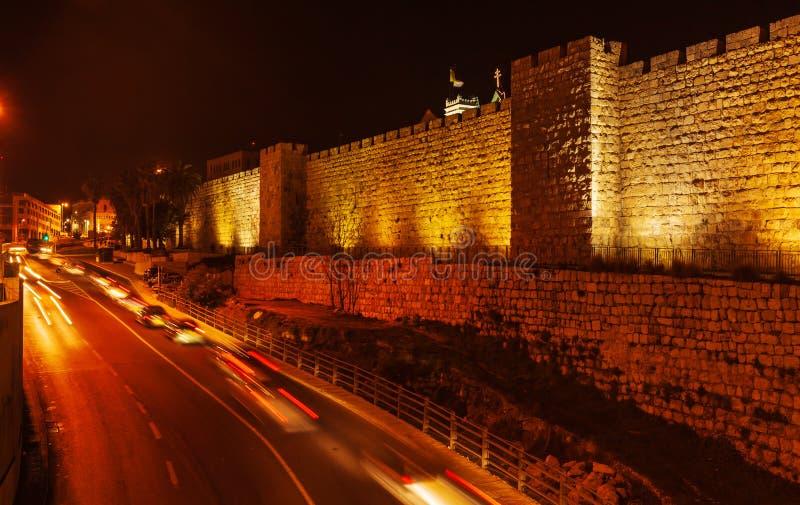 Väggar av den forntida staden, Jerusalem, Israel fotografering för bildbyråer