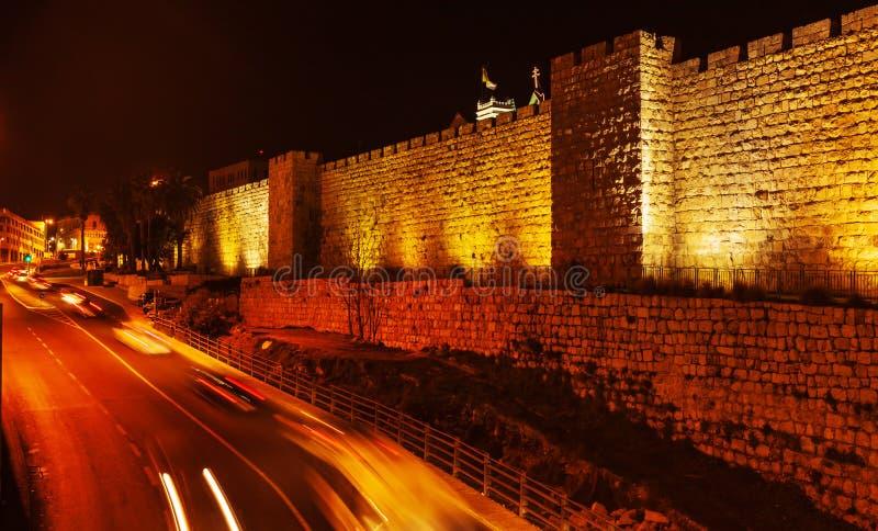 Väggar av den forntida staden, Jerusalem, Israel arkivbild