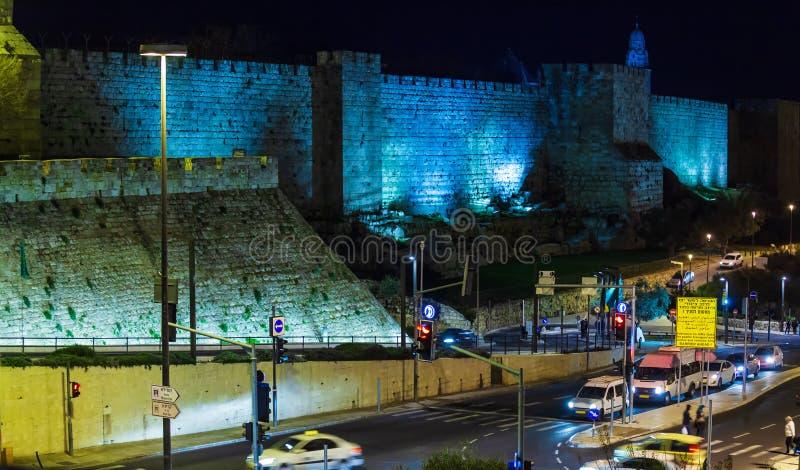 Väggar av den forntida staden, Jerusalem, Israel royaltyfria foton