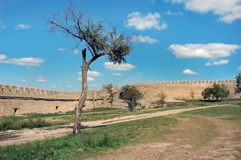 Väggar av den medeltida slotten Ackerman arkivfoto