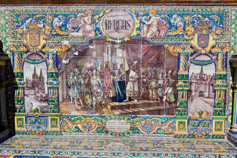Väggar av Plaza de Espana i Seville, Spanien arkivfoto