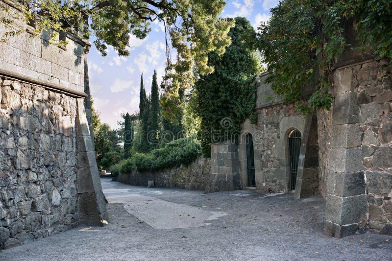Väggarna av det gammala slottet royaltyfri foto