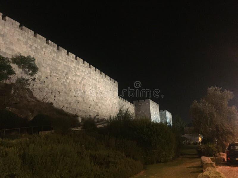 Väggarna av Jerusalem i staden av David arkivfoto