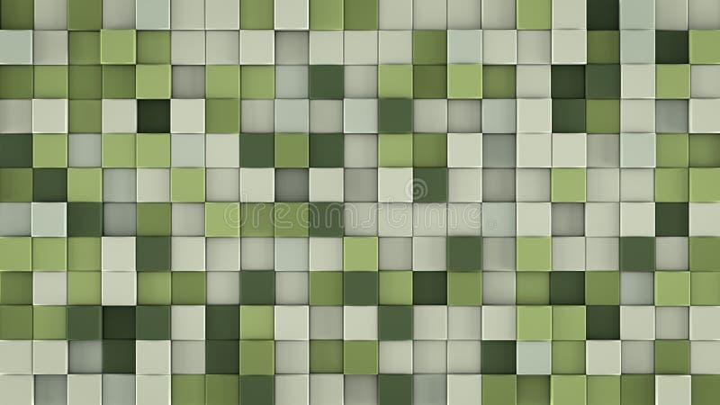 Väggen av försiktiga gräsplankuber 3D framför royaltyfri illustrationer