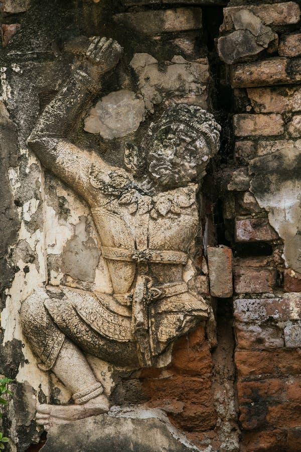Väggen för den gamla templet är det en härlig arkitektur Klassisk bakgrundsbild Härlig modell arkivfoto