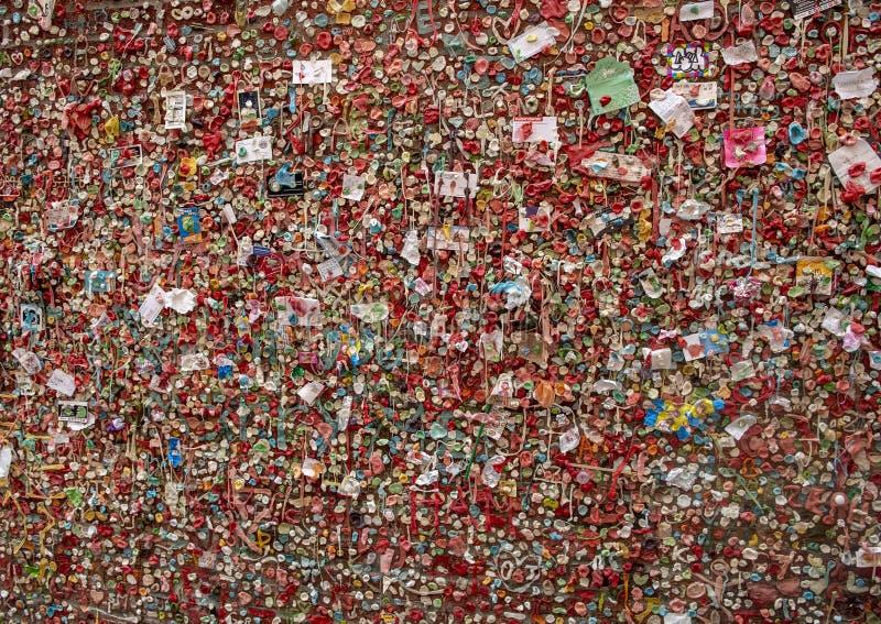 Väggen för marknadsteatergummi, marknad för pikställe, Seattle, Washington fotografering för bildbyråer