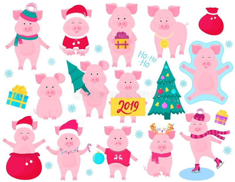 Väggkalender för 2019 från söndag till lördag Kinesiskt nytt år av det gula jordsvinet gulligt piggy stock illustrationer