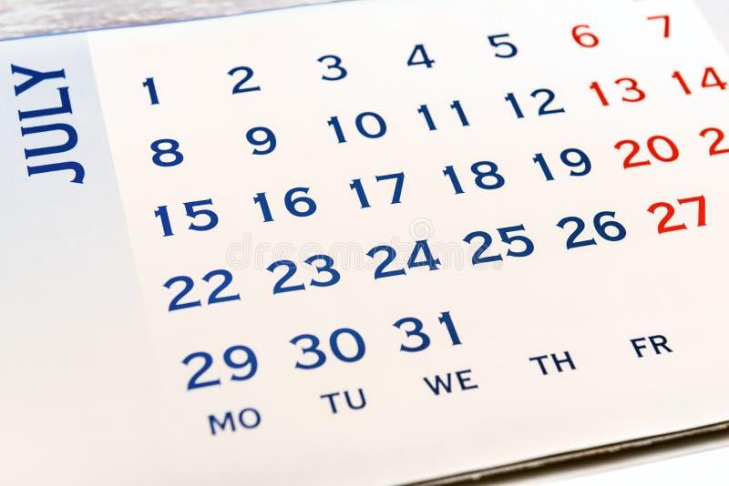 Väggkalender Juni arkivfoto
