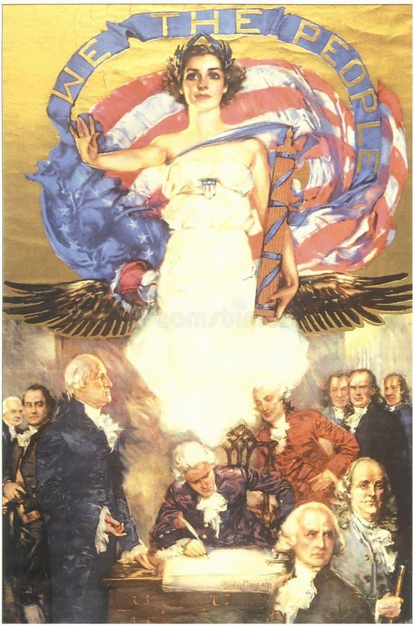 Väggmålning av ängeln av frihet som förbiser underteckningen av USA-konstitutionen och oss folket arkivfoton