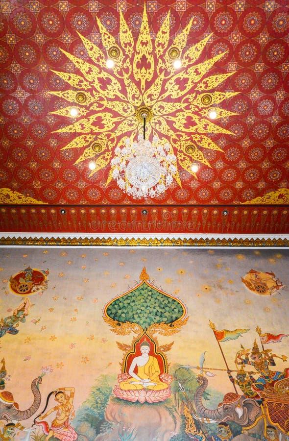 Väggmålning av den thailändska stilBuddha i den Prasai templet arkivbild