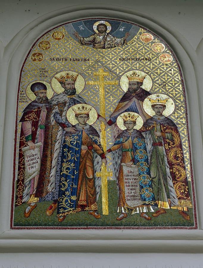 Väggmålning: Brancoveanu spelar martyr utvändig St Georges Church, Bucharest royaltyfria bilder