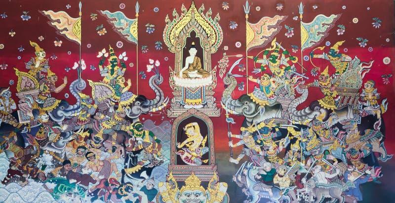 Väggmålning för buddistisk tempel royaltyfria bilder