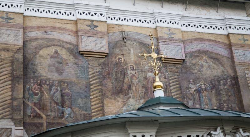 Väggmålning i domkyrka av christ frälsaren, Irkutsk, ryssfederation arkivfoto