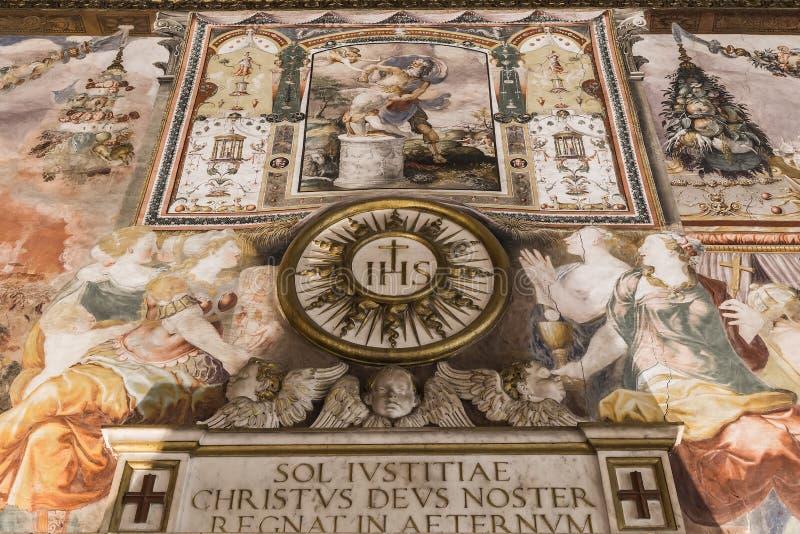 Väggmålning i slotten Vecchio av Florence royaltyfria bilder